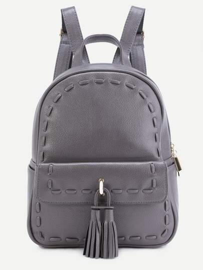 Grey Pebbled PU Tassel Trim Backpack