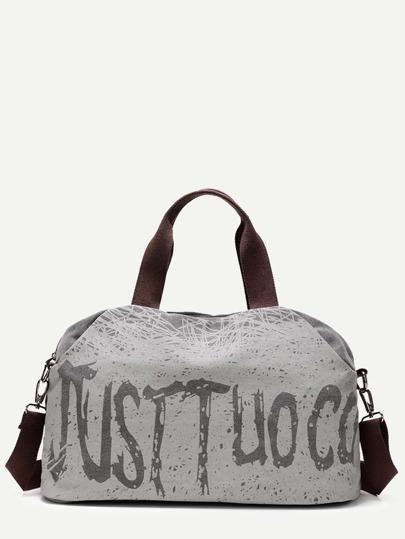 Grey Graffiti Print Canvas Handbag With Strap
