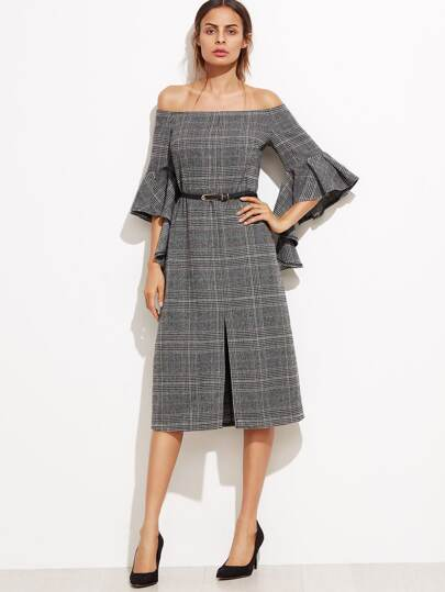 Grey Plaid Off The Shoulder Ruffle Sleeve Dress