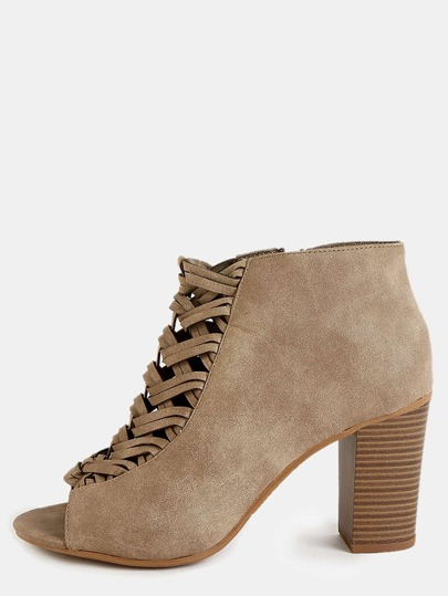 Woven Front Peep Toe Ankle Boots TAUPE