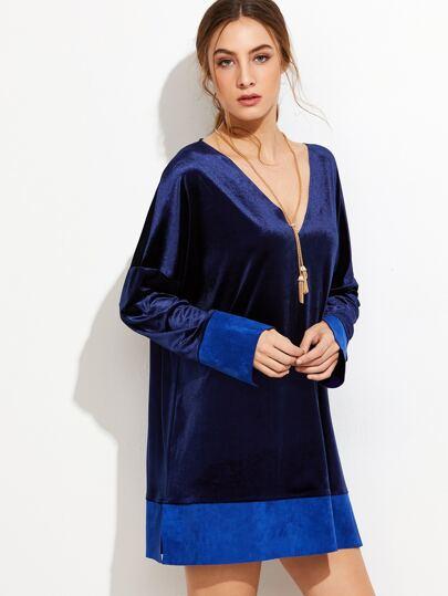Deep V Neck Contrast Hem Split Velvet Dress