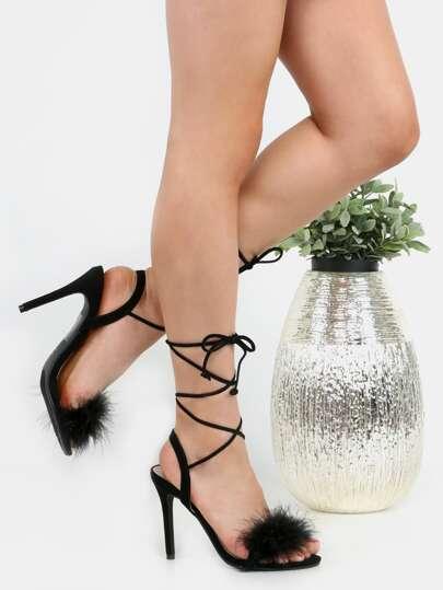 Chaussures à talon haut avec lacet et plume - noir