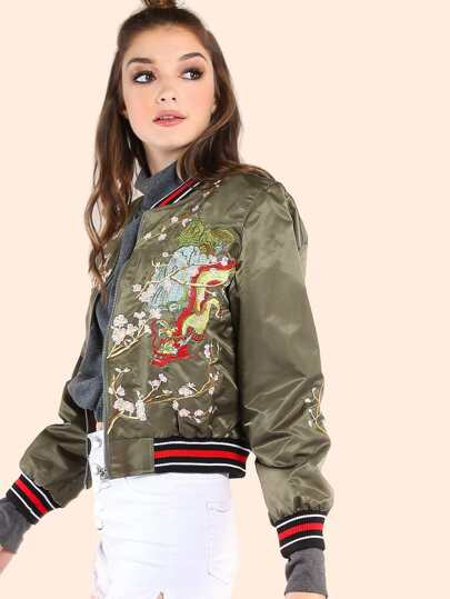 Embroidered Cherry Blossom Dragon Cropped Bomber Jacket OLIVE