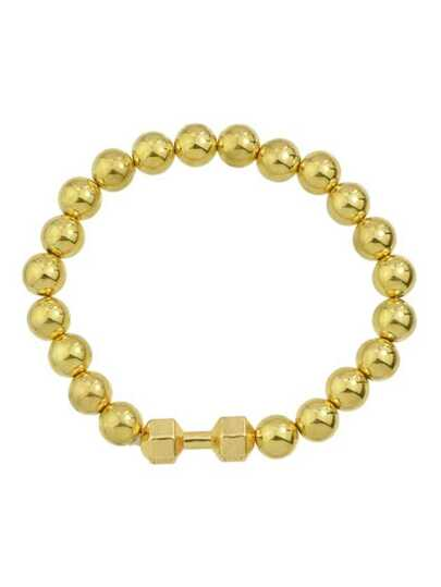 Gold Simple Elastic Metal Beads Chain Bracelet For Women