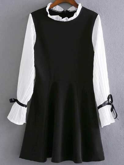 Black Pleated Sleeve A-Line Dress With Bow Tie