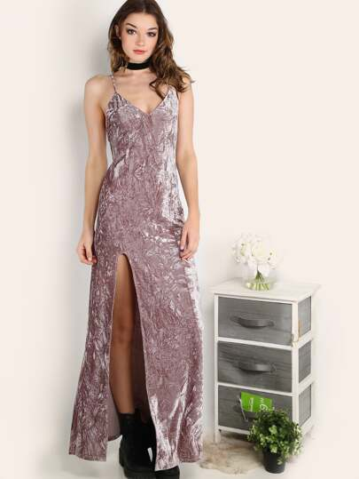 High Slit Crushed Velvet Cami Dress