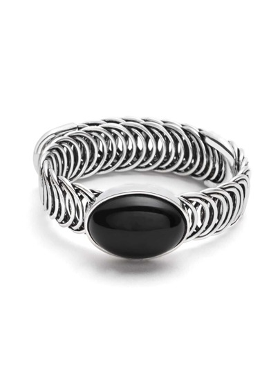 Silver Plated Gemstone Hollow Out Wrap Bangle