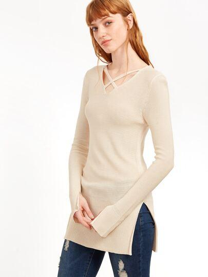 Crisscross Split Side Sweater