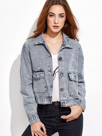 Pale Blue Single Breasted Pockets Denim Jacket