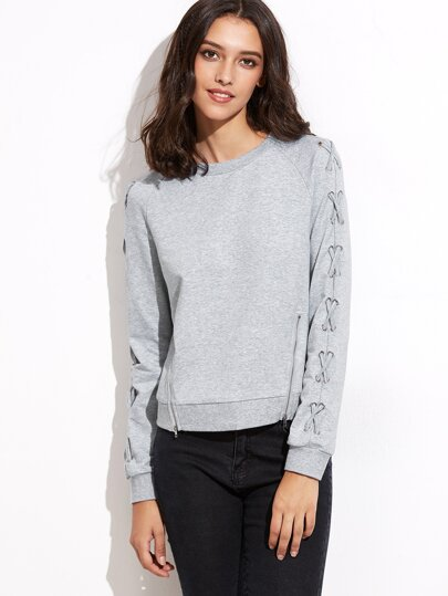 Heather Grey Lace Up Sleeve Dual Zip Front Sweatshirt