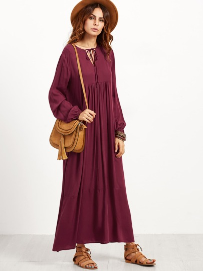 Burgundy V Notch Tie Neck Pleated Maxi Peasant Dress