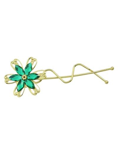 Green Rhinestone Flower Hair Clip