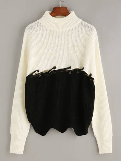 Color Block Criss Cross Front Long Sleeve Sweater