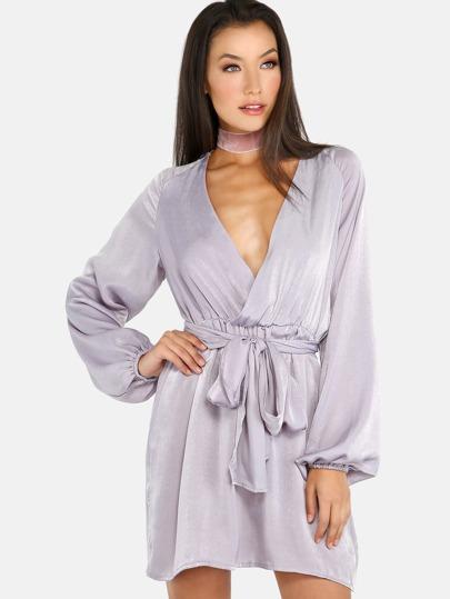 Sleeved Wrapover Dress GREY