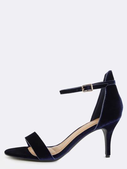 Open Toe Velvet Skinny Heels NAVY