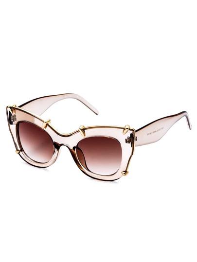 Brown Clear Frame Gold Trim Cat Eye Sunglasses