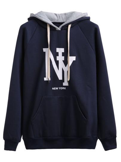 Navy Letter Print Hooded Sweatshirt