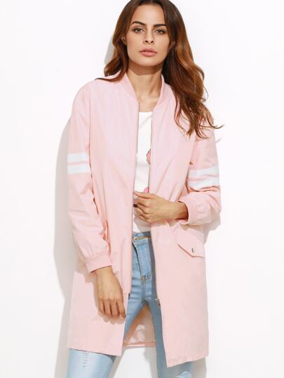 Pink Varsity Striped Sleeve Zip Up Bomber Coat