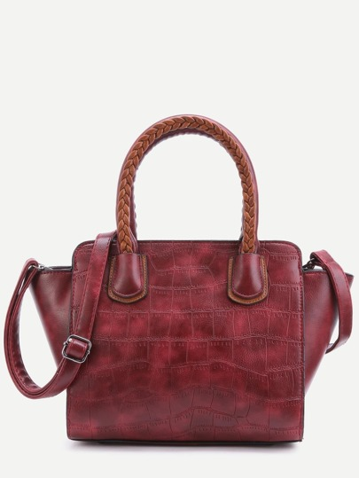 Red Embossed PU Handbag With Strap