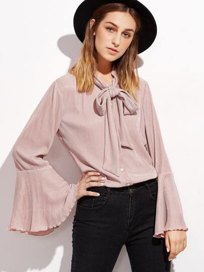 Pink Tie Neck Bell Sleeve Pleated Blouse