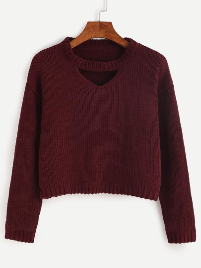 Burgundy Cut Out Crop Sweater