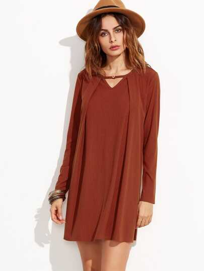 Burgundy Cutout V Neck Fold Over Ribbed Dress