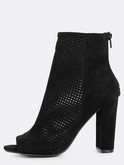 Preforated Peep Toe Ankle Boots BLACK