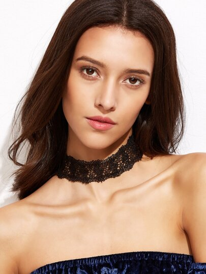 Black Floral Lace Choker Necklace