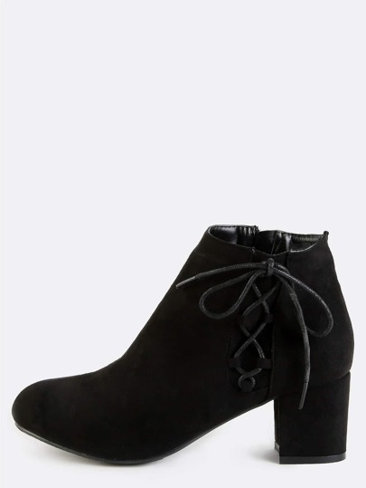 Suede Side Lace Up Booties BLACK