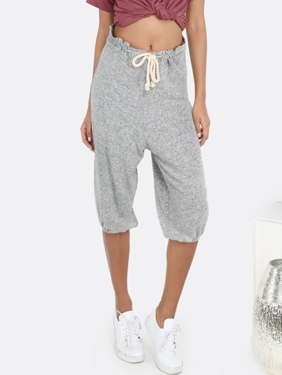 Peppered Cropped Rope Tie Joggers GREY