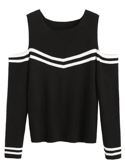 Black Open Shoulder Striped Trim Sweater