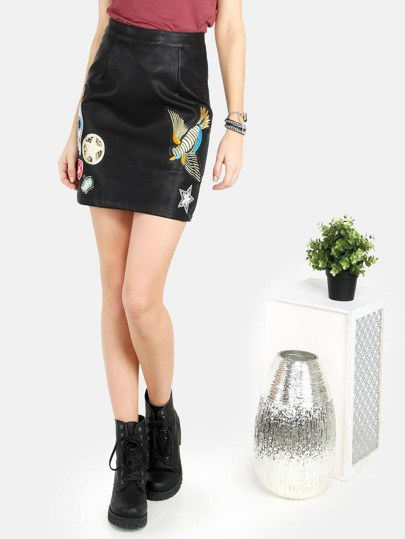Faux Leather Patched Skirt BLACK
