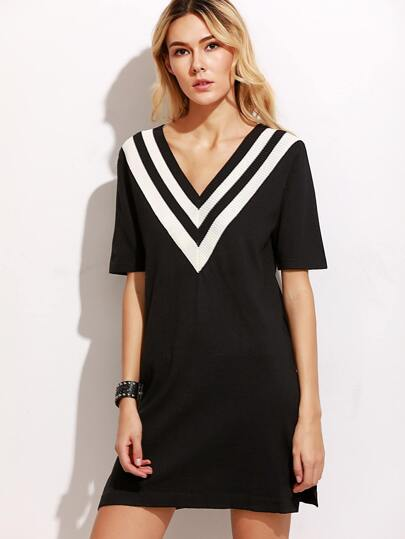 Black V Striped Trim Slit Side Sweater Dress