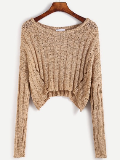 Khaki Drop Shoulder Hollow Out Crop Sweater