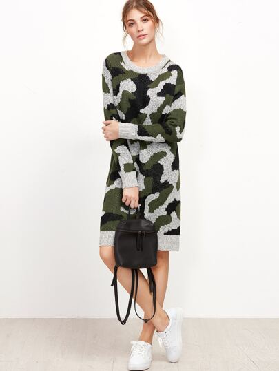 Camo Print Drop Shoulder Sweater Dress