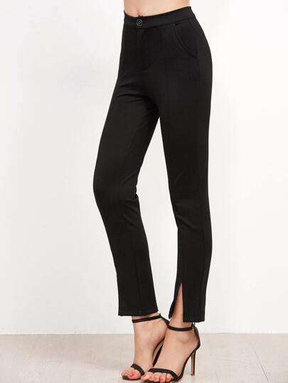 Black Split Front Slim Pants