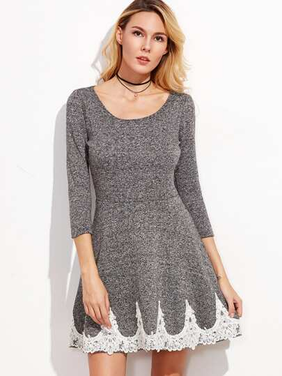 Grey Scoop Neck Appliques Trim A Line Dress