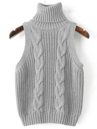 Grey Cable Knit Turtleneck Sweater Vest