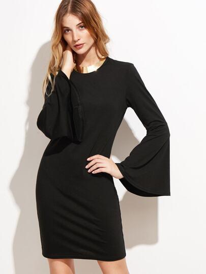 Black Bell Sleeve Pencil Dress