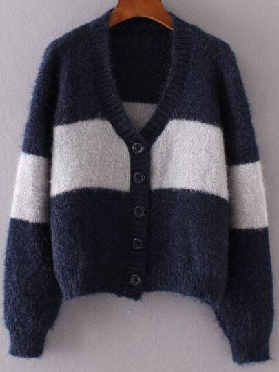 Navy Color Block Button Up Mohair Sweater Coat