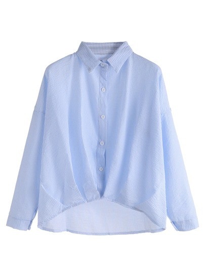 Blue Vertical Striped Drop Shoulder High Low Shirt