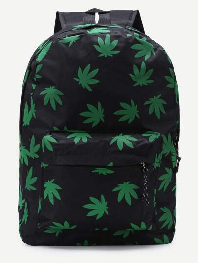 Black Leaf Print Canvas Backpack