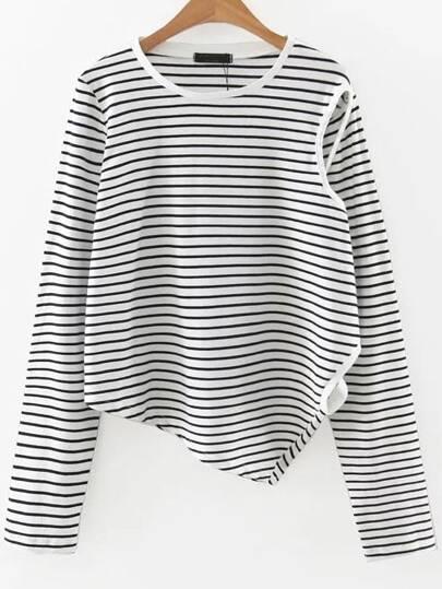 T-shirt asymétrique à rayure - noir et blanc