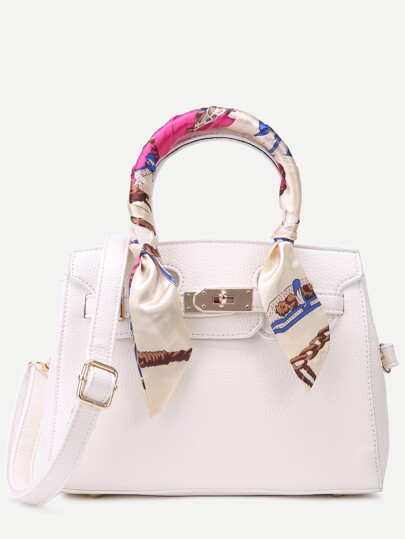 White Pebbled PU Buckle Strap Handbag With Strap