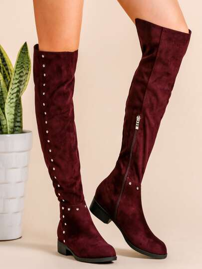 Burgundy Faux Suede Point Toe Knee Boots