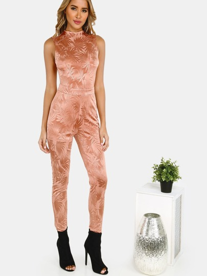 Mock Neck Skinny Jumpsuit TAN