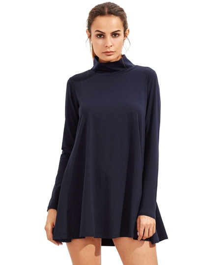 Navy Pullover Long Sleeve Casual Dress