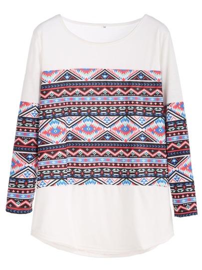 Camiseta con estampado y bajo redondeado - blanco