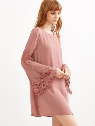 Pink Lace Trim Bell Sleeve Tunic Dress