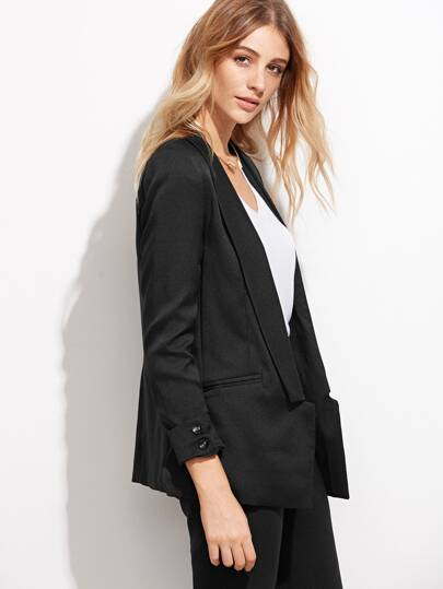 Black Shawl Collar Cuffed Blazer